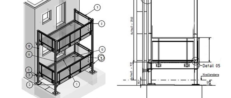 Alle Bauzeichnungen werden in unserem Zeichnungsbüro nach Vorgabe der erfahrenden Ingenieure erstellt