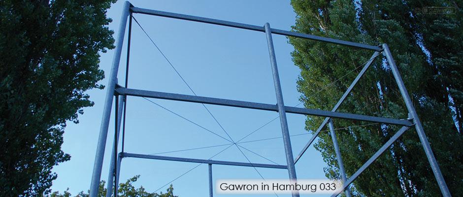 Stilisierte ehemalige Wachtürme in der KZ Gedenkstätte Neuengamme, Entwurf MSB Landschaftsarchitekten