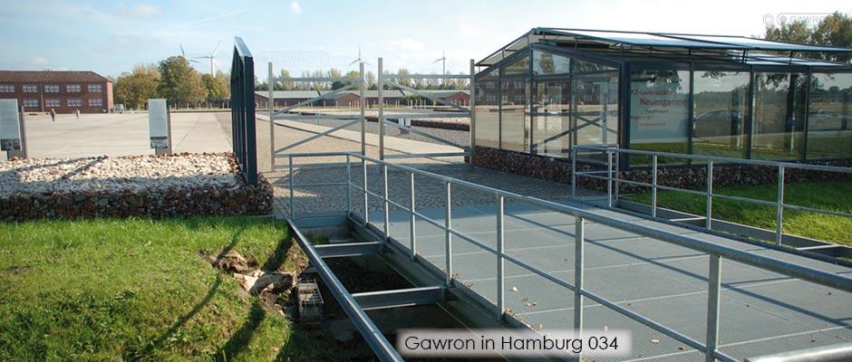 Stahlbrücke als Zugang zur KZ Gedenkstätte Neuengamme, Entwurf MSB Landschaftsarchitekten