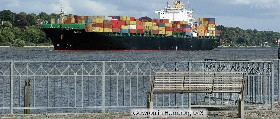 Ein Gawron Geländer an der Elbe mit Blick auf ein vorbeifahrendes Containerschiff.