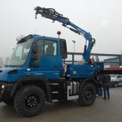 Transport Montage Kran Unimog Stahlbau Zaunbau Gawron