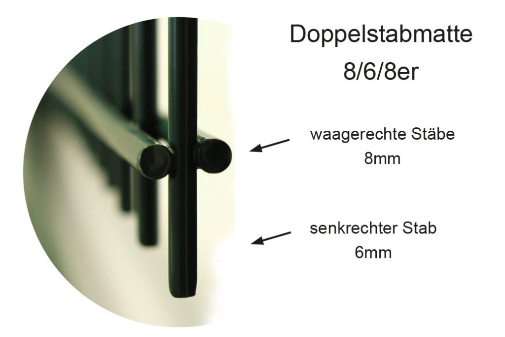 Detailfoto einer 8/6/8er Doppelstabmatte mit zwei waagerechten 8mm Stäben und einem 6mm senkrechten Stab.