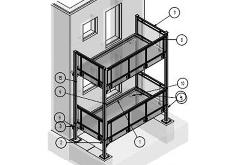 Zeichnung eines Vorstellbalkons