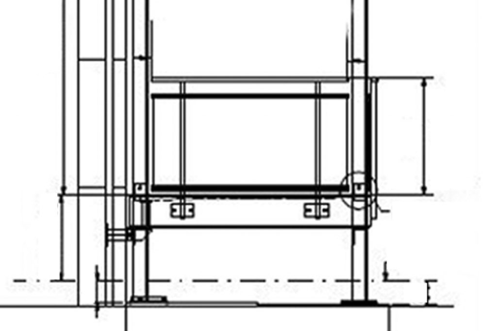 Ausschnitt einer technischen Zeichnung von einem Vorstellbalkon