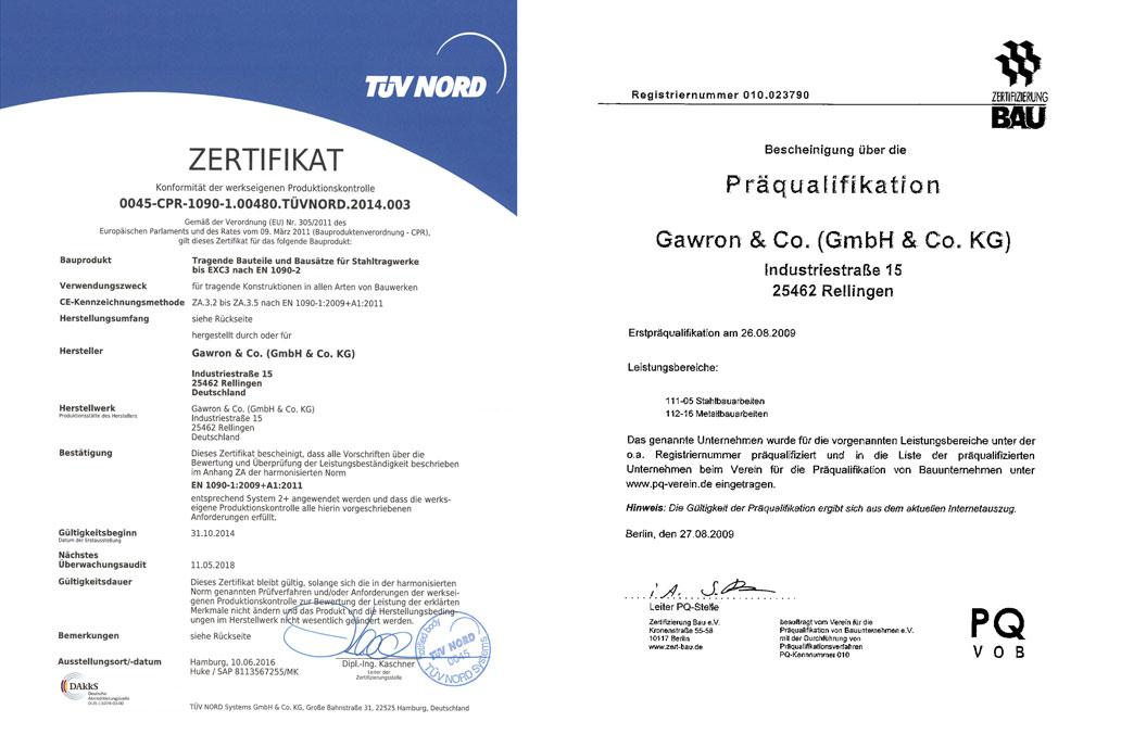 Zertifikat über DIN EN 1090 bis EXC3 und Präqualifikationsbescheinigung von GAwron & Co.