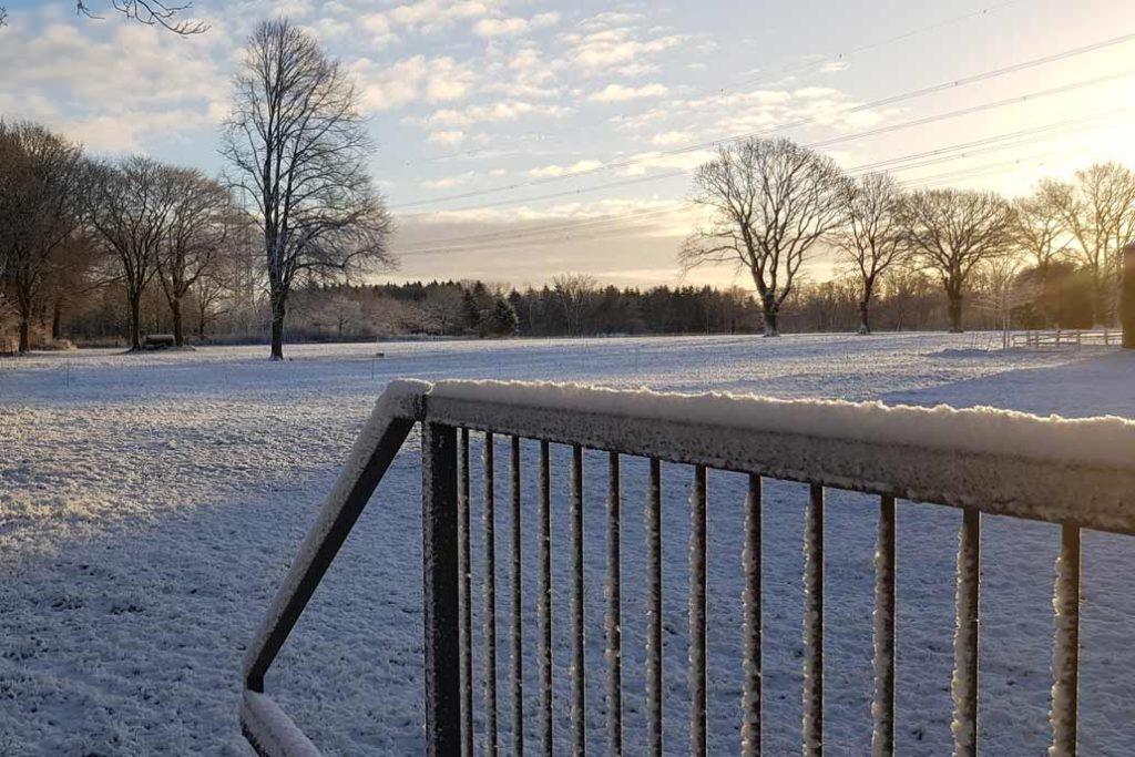 Schiebtor im Schnee vor einem weiten schneebedeckten Feld.