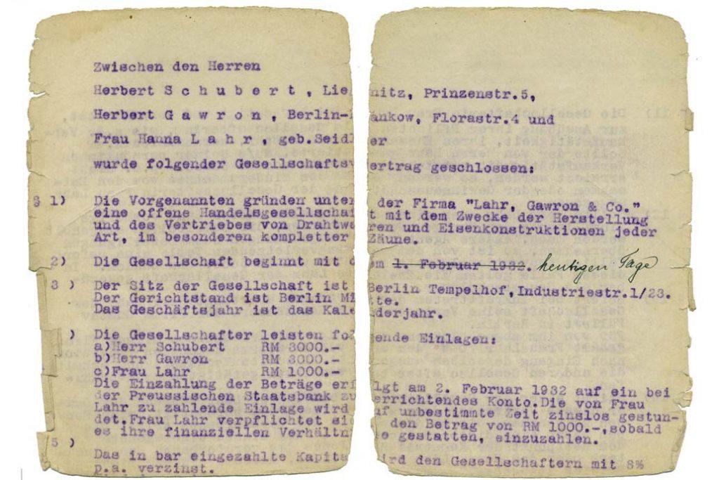 Erste Seite vom Gesellschaftsvertrag der Firma Lahr, Gawron & Co in Berlin vom 4.1.1932