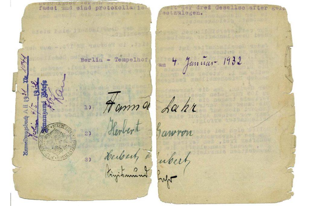 Unterschriften auf der letzten Seite vom Gesellschaftsvertrag der Firma Lahr, Gawron & Co in Berlin vom 4.1.1932