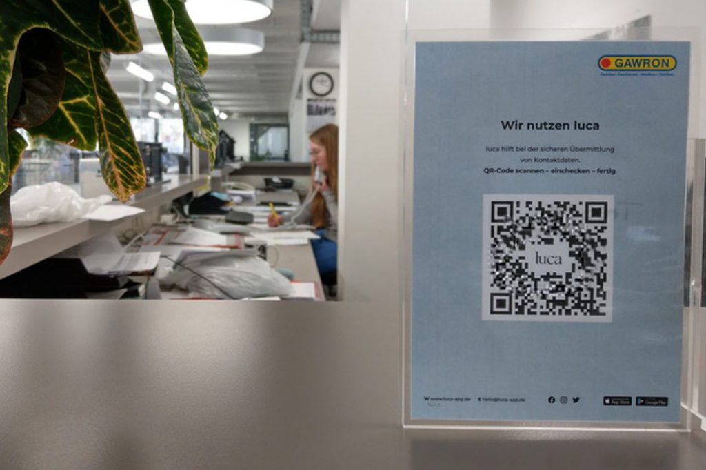Anmelden mit der Luca-App über einen QR-Code jetzt auch bei Gawron in Rellingen.